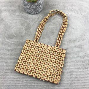 Vintage Bead Purse Handbag - Floral Tan Red